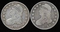 2 CAPPED BUST HALF DOLLARS 1818 1830