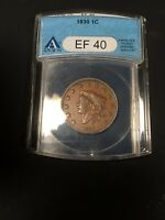 1830 CORONET LARGE CENT XF 40 GRADED BY ANACS LARGE LETTER VARIETY