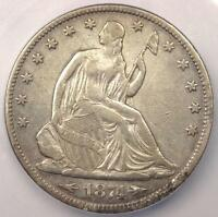 1874 ARROWS SEATED LIBERTY HALF DOLLAR 50C   ICG XF40 DETAIL EF40    COIN