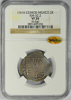 1616 22 MOD MEXICO 2 REALES NGC & WINGS VF20