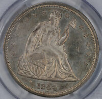 1844 LIBERTY SEATED S$1 PCGS MS 63