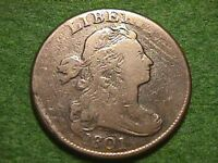 1801 DRAPED BUST LARGE CENT NICE QUALITY COIN W/BIG DIE BREAKS