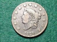 1829 CORONET HEAD LARGE CENT    WHEELSPOKE REVERSE DIE BREAKS