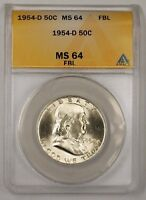 1954 D FRANKLIN SILVER HALF DOLLAR 50C COIN ANACS MS 64 FBL H BETTER RL