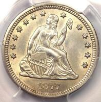 1877 CC SEATED LIBERTY QUARTER 25C COIN   PCGS UNCIRCULATED DETAIL UNC BU MS