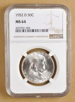 1952 D FRANKLIN SILVER HALF DOLLAR NGC MS64