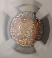1829 PROOF CAPPED BUST SILVER HALF DIME 5C COIN NGC MS 64 TONED  PROOF