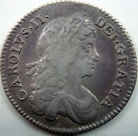 1676 CHARLES II SILVER SHILLING SECOND BUST DIE AXIS AS USUAL SPINK 3375