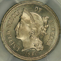 1880 THREE CENT NICKEL PCGS MS66 CAC