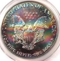 1989 TONED AMERICAN SILVER EAGLE DOLLAR $1 ASE   PCGS MS65   RAINBOW TONING COIN