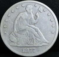1877 SEATED LIBERTY HALF DOLLAR   VG CLEANED