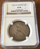 1839 SEATED HALF DOLLAR   NO DRAPERY   NGC XF40   KEY DATE  CHEAP