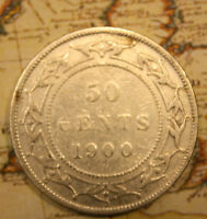 1900 NEWFOUNDLAND CANADA SILVER 50 CENT COIN    LOT NF1042   CLEANED