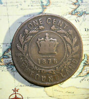 1876 NEWFOUNDLAND CANADA LARGE CENT COIN     LOT NF1063 HAS WEAR.