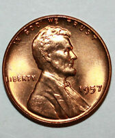 1957 P LINCOLN CENT CH BU RED