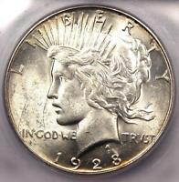 1928-S PEACE SILVER DOLLAR $1 - CERTIFIED ICG MINT STATE 60 -  UNC BU COIN