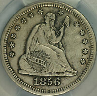 1856 S/S LARGE/SMALL S SEATED QUARTER PCGS XF40