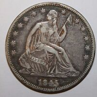 1845 SEATED SILVER HALF DOLLAR BN51