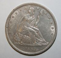 1839 AU / UNC WITH DRAPERY SEATED SILVER HALF DOLLAR T4