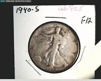 1940-S LIBERTY WALKING HALF,  CIRCULATED MEDIUM GRADE, .3617 OZ SILVER US-955