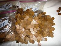 1930'S  PD LINCOLN WHEAT CENT PENNIES, 5075 COPPER COINS 35 LBS