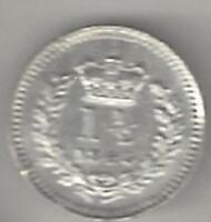 1843 GREAT BRITAIN USED IN BRITISH GUIANA WEST INDIES 1 1/2D SILVER LOW MINTAGE