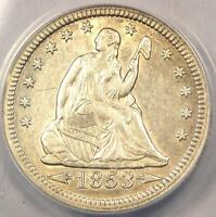 1853 ARROWS & RAYS SEATED LIBERTY QUARTER 25C   ANACS AU50 DETAILS    COIN