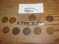 10 INDIAN HEAD CENTS- 1865, 18823 &1907 READABLE DATES, OTHER 4 NO DATES -A965
