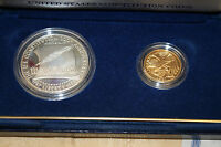 1987 US CONSTITUTION COINS PROOF SILVER DOLLAR AND GOLD FIVE DOLLAR BOX & COA