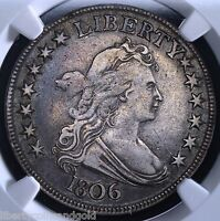 1806 U.S.DRAPED BUST HALF DOLLAR NGC GRADED VF 30 POINTED 6 STEM KM 35