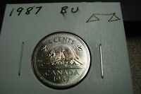 1987   CANADA   BRILLIANT UNCIRCULATED   5 CENT COIN   CANADIAN NICKEL