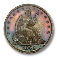 1866 50C MOTTO LIBERTY SEATED HALF DOLLAR PCGS PR66