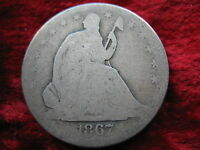 1867 S SEATED LIBERTY SILVER HALF DOLLAR NICE ORIGINAL COIN BETTER DATE