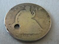 1856 LIBERTY SEATED HALF DOLLAR HOLED