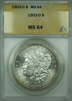 1903-O MORGAN SILVER DOLLAR $1 ANACS MINT STATE 64 LIGHTLY TONED BETTER COIN