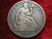 1875 P SEATED LIBERTY SILVER HALF DOLLAR BETTER GRADE ORIGINAL BEAUTY