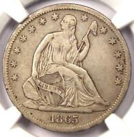 1865 S SEATED LIBERTY HALF DOLLAR 50C   NGC XF40 EF40    CIVIL WAR DATE