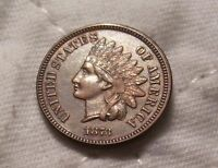 1873 INDIAN HEAD CENT: ATTRACTIVE CHOCOLATE BROWN FULLY STRUCK SMOOTH 4 DIAMONDS