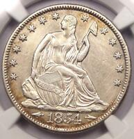 1854 O SEATED LIBERTY HALF DOLLAR 50C   CERTIFIED NGC AU DETAILS    DATE