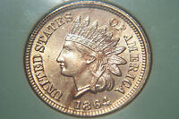 VERY  GORGEOUS MINT STATE 1864 COPPER/NICKEL ORIGINAL INDIAN HEAD CENT