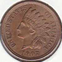 1907 INDIAN HEAD CENT AU CIRCULATED UNCERTIFIED