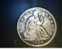 1856 0 SEATED LIBERTY HALF AVE CIR PARTIAL LIBERTY .3599 OZ SILVER  US 4210