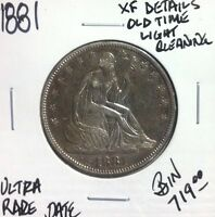 1881 SEATED LIBERTY SILVER HALF DOLLAR XF DETAILS OLD LIGHT CLEANING ULTRA