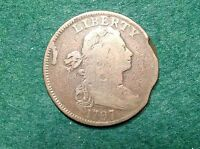 1797 DRAPED BUST LARGE CENT    STEMLESS VARIETY AND