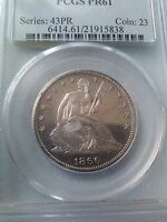 1860 SEATED LIBERTY PROOF HALF DOLLAR PCGS PR61  ONLY 1000 MINTED