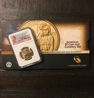 2014 D $1 SACAGAWEA NATIVE HOSPITALITY NGC SP69 ER WITH OGP AND $1 BANKNOTE