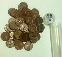 OVER PACKED ROLL OF 1958 D LINCOLN CENTS 52