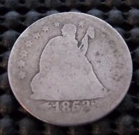 1853 O  SEATED SILVER QUARTER DOLLAR    FILLED O   AWESOME VARIETY   NICE