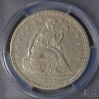 1844 $1 SEATED LIBERTY SILVER DOLLAR  WELL STRUCK   AU50 PCGS