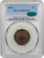 1872 TWO CENT PIECE. PCGS GRADED PROOF-66 RED & BROWN. CAC.
